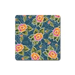 Floral Fantsy Pattern Square Magnet