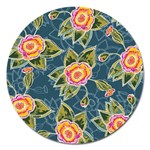 Floral Fantsy Pattern Magnet 5  (Round) Front