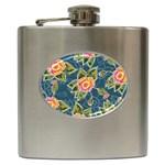 Floral Fantsy Pattern Hip Flask (6 oz) Front