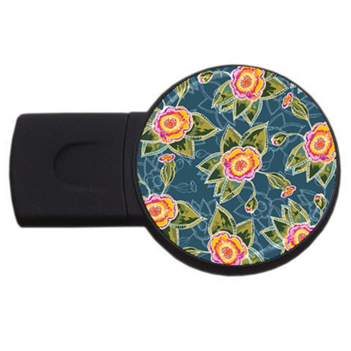 Floral Fantsy Pattern USB Flash Drive Round (2 GB)