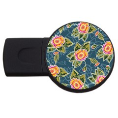 Floral Fantsy Pattern USB Flash Drive Round (1 GB)