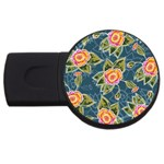 Floral Fantsy Pattern USB Flash Drive Round (1 GB)  Front
