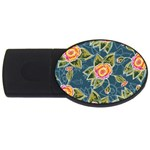 Floral Fantsy Pattern USB Flash Drive Oval (1 GB)  Front