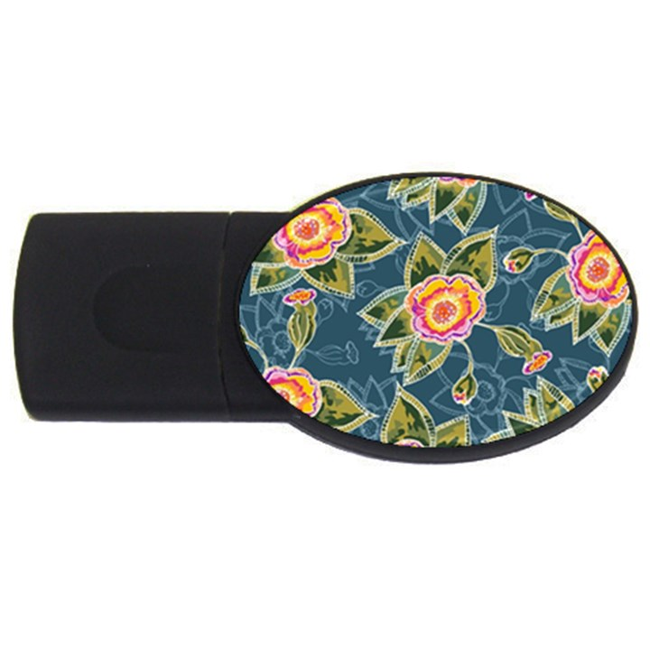 Floral Fantsy Pattern USB Flash Drive Oval (1 GB)