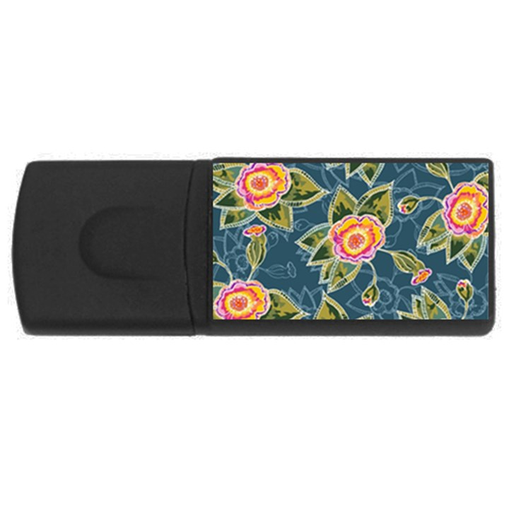 Floral Fantsy Pattern USB Flash Drive Rectangular (1 GB)