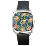 Floral Fantsy Pattern Square Metal Watch Front