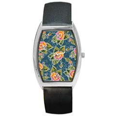 Floral Fantsy Pattern Barrel Style Metal Watch
