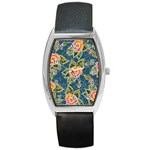 Floral Fantsy Pattern Barrel Style Metal Watch Front