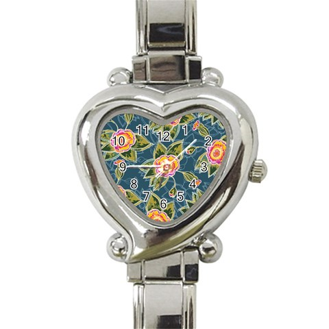 Floral Fantsy Pattern Heart Italian Charm Watch