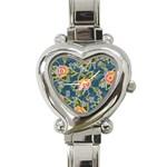 Floral Fantsy Pattern Heart Italian Charm Watch Front