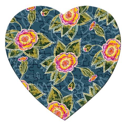 Floral Fantsy Pattern Jigsaw Puzzle (Heart)