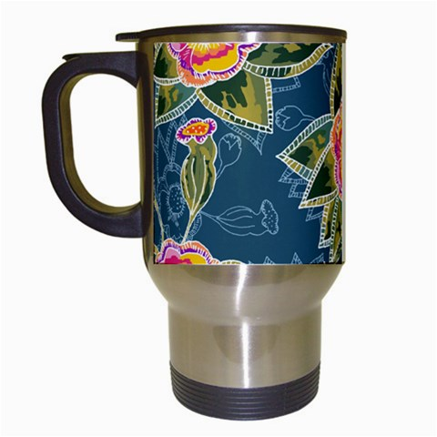 Floral Fantsy Pattern Travel Mugs (White)