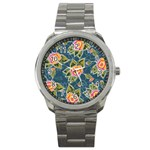Floral Fantsy Pattern Sport Metal Watch Front