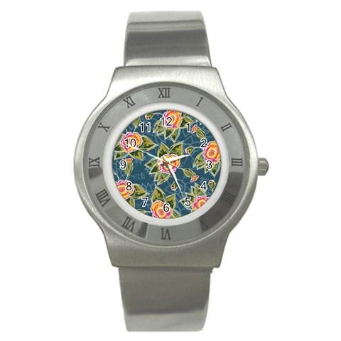 Floral Fantsy Pattern Stainless Steel Watch