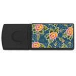 Floral Fantsy Pattern USB Flash Drive Rectangular (4 GB)  Front
