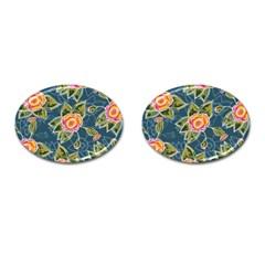 Floral Fantsy Pattern Cufflinks (Oval)