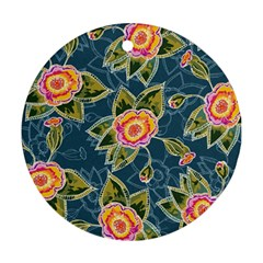 Floral Fantsy Pattern Round Ornament (two Sides)