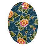Floral Fantsy Pattern Oval Ornament (Two Sides) Back