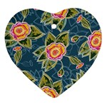 Floral Fantsy Pattern Heart Ornament (2 Sides) Front