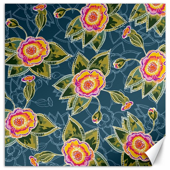 Floral Fantsy Pattern Canvas 20  x 20