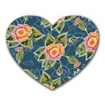 Floral Fantsy Pattern Heart Mousepads Front