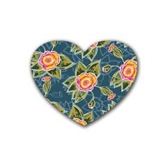 Floral Fantsy Pattern Rubber Coaster (Heart)
