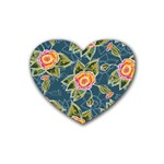 Floral Fantsy Pattern Heart Coaster (4 pack)  Front