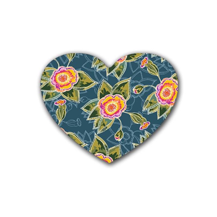 Floral Fantsy Pattern Heart Coaster (4 pack)