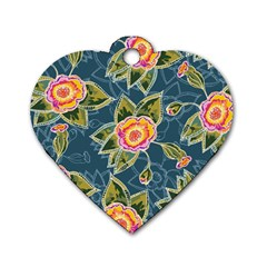Floral Fantsy Pattern Dog Tag Heart (Two Sides)