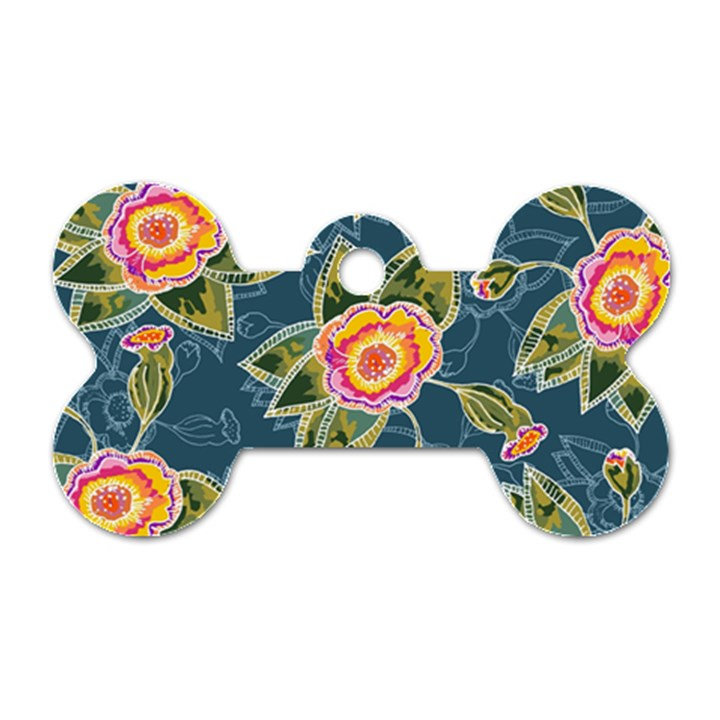 Floral Fantsy Pattern Dog Tag Bone (One Side)