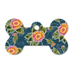 Floral Fantsy Pattern Dog Tag Bone (Two Sides)