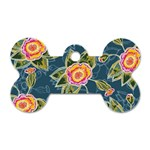 Floral Fantsy Pattern Dog Tag Bone (Two Sides) Front