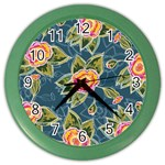 Floral Fantsy Pattern Color Wall Clocks Front