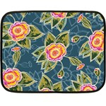 Floral Fantsy Pattern Double Sided Fleece Blanket (Mini)  35 x27 Blanket Front