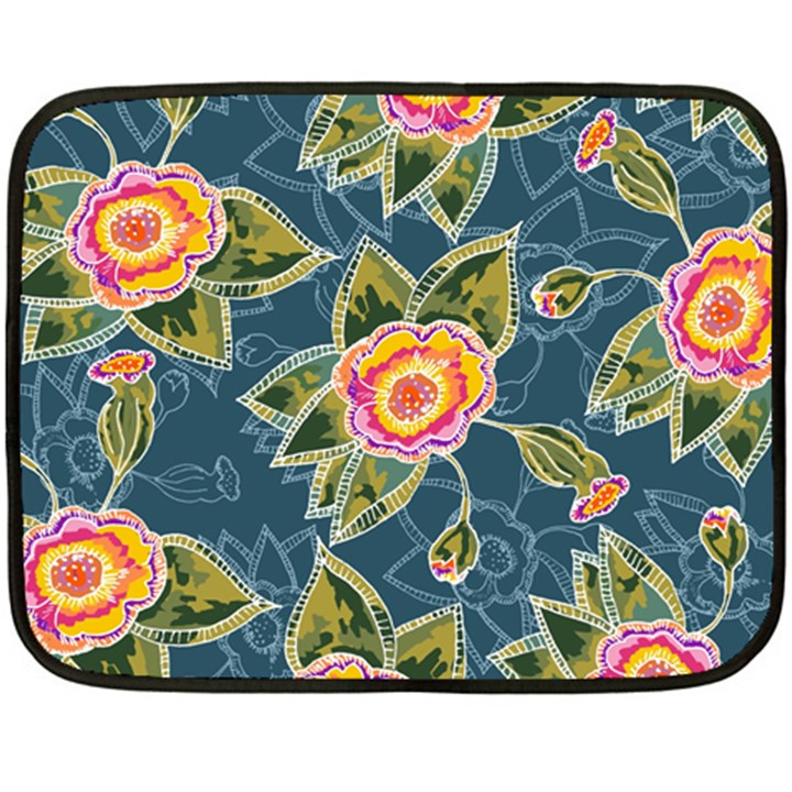 Floral Fantsy Pattern Double Sided Fleece Blanket (Mini)