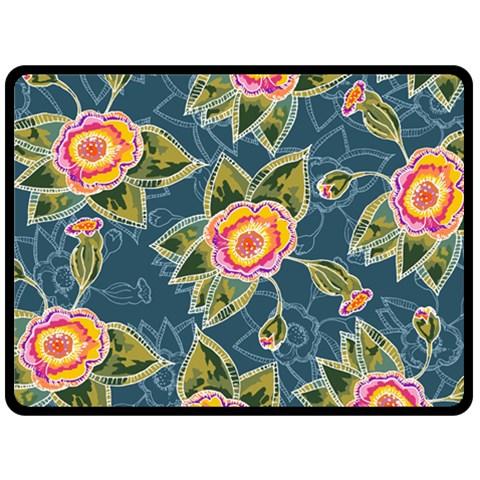 Floral Fantsy Pattern Fleece Blanket (Large)