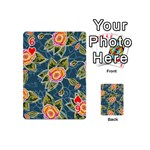 Floral Fantsy Pattern Playing Cards 54 (Mini)  Front - Heart6