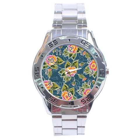 Floral Fantsy Pattern Stainless Steel Analogue Watch