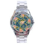 Floral Fantsy Pattern Stainless Steel Analogue Watch Front