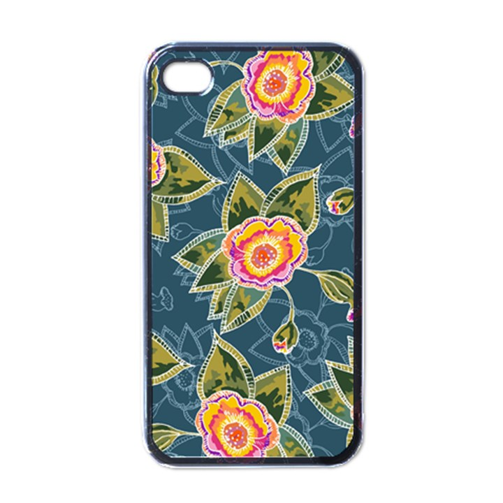 Floral Fantsy Pattern Apple iPhone 4 Case (Black)