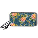 Floral Fantsy Pattern Portable Speaker (Black)  Front