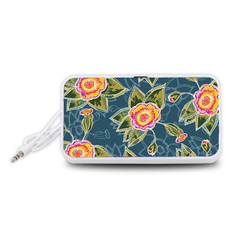 Floral Fantsy Pattern Portable Speaker (White)