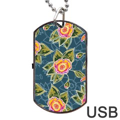 Floral Fantsy Pattern Dog Tag Usb Flash (one Side)