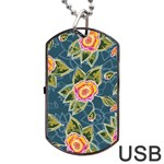 Floral Fantsy Pattern Dog Tag USB Flash (One Side) Front