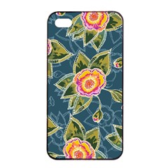 Floral Fantsy Pattern Apple Iphone 4/4s Seamless Case (black)