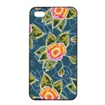 Floral Fantsy Pattern Apple iPhone 4/4s Seamless Case (Black) Front