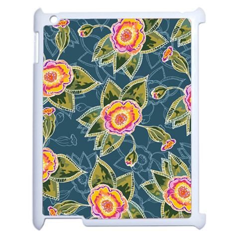 Floral Fantsy Pattern Apple iPad 2 Case (White)