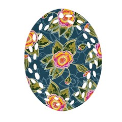 Floral Fantsy Pattern Oval Filigree Ornament (2-Side)