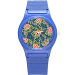 Floral Fantsy Pattern Round Plastic Sport Watch (S) Front