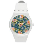 Floral Fantsy Pattern Round Plastic Sport Watch (M) Front